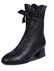 cheap -Women's Boots Chunky Heel Pointed Toe Bowknot / Stitching Lace PU Mid-Calf Boots Casual / Minimalism Fall & Winter Black / White