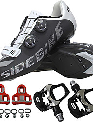 cheap -SIDEBIKE Adults' Cycling Shoes With Pedals & Cleats Road Bike Shoes Nylon Breathable Cushioning Cycling Black Men's Cycling Shoes / Breathable Mesh / Forged Microlock Buckle and Strap Adjuster