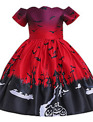 cheap -Kids Toddler Girls' Active Cute Floral Color Block Halloween Pleated Lace up Print Short Sleeve Knee-length Dress Red