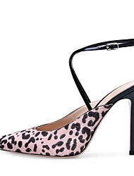 cheap -Women's Heels Stiletto Heel Pointed Toe Buckle Faux Leather Sweet / British Fall / Spring & Summer Leopard / Party & Evening