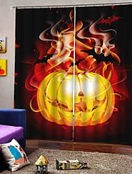 Недорогие -Горящий желтый фон тыквы шторы уф цифровая печать занавес плотные влагостойкие ткани занавес для гостиной / спальни