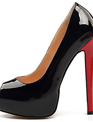 cheap -Women's Heels Stiletto Heel Peep Toe Faux Leather Classic / British Fall / Spring & Summer Black / Red / Party & Evening / Color Block