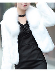 cheap -Women's Faux Fur Coat Short Solid Colored Daily Basic White Black S M L XL