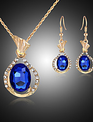 cheap -Women's Drop Earrings Pendant Necklace Classic Stylish Unique Design Gold Plated Earrings Jewelry White / Blue For Daily Work 1 set