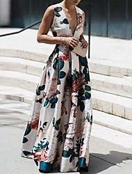 cheap -Women's Basic Maxi Sheath Dress - Floral Print Deep V White S M L XL
