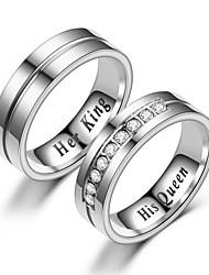 Недорогие -Для пары Кольца для пар Кольцо 1шт Белый Серебряный Нержавеющая сталь Круглый Винтаж Классический Мода обещание Бижутерия Корона Cool