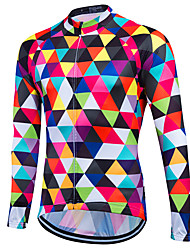 abordables -Fastcute Homme Manches Longues Maillot Velo Cyclisme Argyle Cyclisme Shirt Maillot Hauts / Top Chaud Respirable Séchage rapide Des sports Hiver Polyester Coolmax® 100 % Polyester VTT Vélo tout