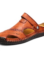 cheap -Men's Clogs & Mules Comfort Shoes Daily Upstream Shoes PU Black Yellow Brown Summer