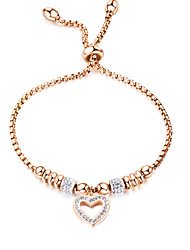 cheap -Women's White AAA Cubic Zirconia Chain Bracelet Beads Heart Dangling Elegant Titanium Steel Bracelet Jewelry Rose Gold / White For Daily / Platinum Plated / Rose Gold Plated