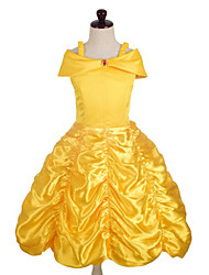 cheap -Princess Belle Dress Cosplay Costume Masquerade Girls' Movie Cosplay A-Line Slip Cosplay Halloween Yellow Dress Halloween Carnival Masquerade Satin Cotton