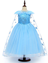 cheap -Kids Girls' Active Street chic Solid Colored Snowflake Halloween Sequins Short Sleeve Midi Dress Blue