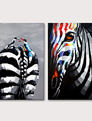 cheap -Mintura Hand Painted Zebra Animals Oil Painting on Canvas Modern Abstract Wall Art Picture For Livint Room Home Decoration Ready To Hang
