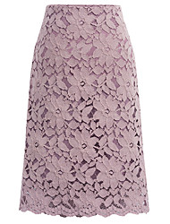 cheap -Women's Basic Plus Size A Line Skirts - Geometric Lace Black Purple Blue M L XL