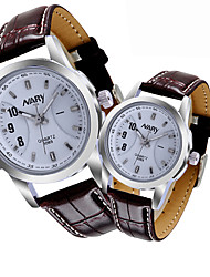 cheap -Couple's Dress Watch Quartz Stylish Genuine Leather Black / Brown 30 m Casual Watch Analog Casual Fashion - White Two Years Battery Life / Stainless Steel