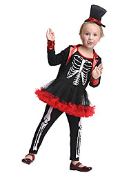 cheap -Pirate Cosplay Costume Kid's Girls' Halloween Halloween Festival / Holiday Spandex Polyester / Polyamide Black Carnival Costumes