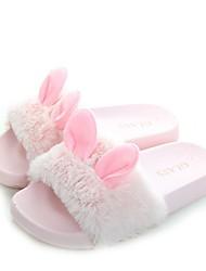 cheap -Girls' Slingback Faux Fur Slippers & Flip-Flops Little Kids(4-7ys) Black / Pink / Khaki Summer