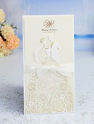 cheap -French-Fold Wedding Invitations 30pcs - Invitation Cards / Invitation Sample / Bridal Shower Cards Artistic Style / Fairytale Theme / Bride & Groom Style Pearl Paper 21.5*11.5 cm Satin Bow / Sash