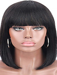 cheap -Remy Human Hair Lace Front Wig Neat Bang style Brazilian Hair Straight Black Wig 130% Density Women's Short Human Hair Lace Wig beikashang