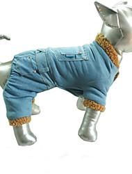 cheap -Dog Coat Denim Jacket / Jeans Jacket Pants Solid Colored Cowboy Euramerican Outdoor Winter Dog Clothes Light Blue Costume Cotton / Polyester Denim S M L XL XXL