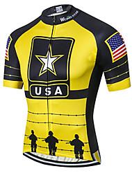 cheap -21Grams American / USA National Flag Men's Short Sleeve Cycling Jersey - Black / Yellow Bike Jersey Top Breathable Moisture Wicking Quick Dry Sports Polyester Elastane Terylene Mountain Bike MTB Road