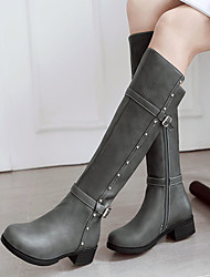 cheap -Women's Boots Chunky Heel Round Toe Rivet / Buckle Faux Leather Mid-Calf Boots Casual / Minimalism Spring & Summer / Fall & Winter Black / White / Yellow