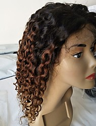 cheap -Virgin Human Hair Remy Human Hair Lace Front Wig Layered Haircut Middle Part Side Part style Brazilian Hair Deep Curly Wig 130% Density Natural Color Gradient Natural Hairline African American Wig