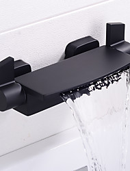 cheap -Bathroom Sink Faucet - Waterfall Chrome / Painted Finishes / Black Wall Installation Two Handles Two HolesBath Taps