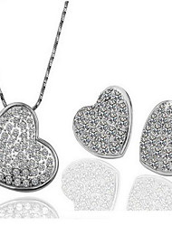 cheap -Women's Cubic Zirconia Bridal Jewelry Sets Classic Heart Stylish Earrings Jewelry Silver For Party Daily 1 set