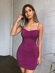 cheap -Women's Basic Elegant Bodycon Sheath Dress - Solid Colored Backless Ruched Pleated Purple S M L XL