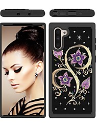 cheap -Case For Samsung Galaxy Note 9 / Galaxy Note 10 / Galaxy Note 10 Plus Shockproof / Rhinestone / Pattern Back Cover Flower TPU / PC