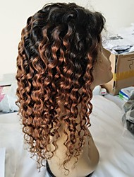 cheap -Virgin Human Hair Remy Human Hair Full Lace Wig Layered Haircut Middle Part Side Part style Brazilian Hair Deep Curly Wig 130% Density Natural Color Gradient Natural Hairline African American Wig