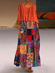 cheap -Women's Plus Size Vintage Two Piece Maxi Dress - Geometric Purple Orange Blue M L XL XXL