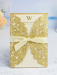 "cheap -Wrap & Pocket Wedding Invitations 30pcs - Invitation Cards / Thank You Cards / Invitation Sample Artistic Style / Modern Style / Floral Style Pearl Paper 5""×7 ¼"" (12.7*18.4cm) Satin Bow / Sash"