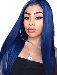 Недорогие -Синтетические кружевные передние парики Прямой Средняя часть Лента спереди Парик Длинные Синий Искусственные волосы 18-26 дюймовый Жен. Регулируется Жаропрочная Для вечеринок Синий