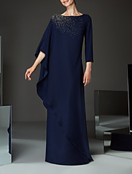 cheap -Sheath / Column Bateau Neck Floor Length Chiffon Half Sleeve Plus Size / Elegant Mother of the Bride Dress with Appliques / Lace 2020