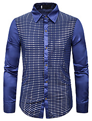 cheap -Men's Shirt Graphic Sequins Long Sleeve Performance Tops Basic Blue Red Gold