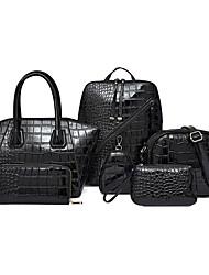 cheap -Women's Zipper Patent Leather / PU Bag Set Solid Color 6 Pieces Purse Set Black / Brown / Red