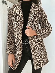 cheap -Women's Daily Fall & Winter Regular Coat, Leopard Straight Collar Long Sleeve Polyester / Spandex Gray / Khaki