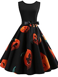 cheap -Women's Halloween Vintage A Line Dress - Abstract Backless Patchwork Print Orange S M L XL