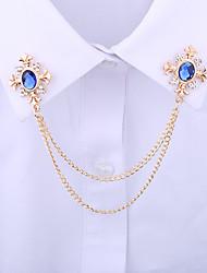 cheap -Men's Crystal Brooches Spiga Creative Vertical / Gold bar Statement Tassel Basic Rock Fashion Rhinestone Brooch Jewelry Black Blue For Wedding Daily Street Work Club