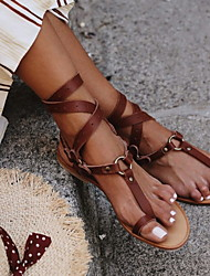 cheap -Women's Sandals Flat Heel Round Toe PU Summer Black / Brown / Khaki
