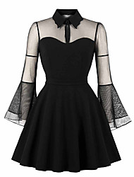 cheap -Audrey Hepburn Retro Vintage 1950s Wasp-Waisted Dress Masquerade Women's Tulle Costume Black / Wine Vintage Cosplay Party