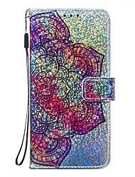 Недорогие -чехол для google pixel 4 / google pixel 4 xl кошелек / держатель для карты / с подставкой для всего тела чехол для цветов / блестящий блеск искусственная кожа
