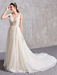 cheap -A-Line Bateau Neck Chapel Train Tulle Regular Straps Sexy Wedding Dresses with Beading / Appliques 2020