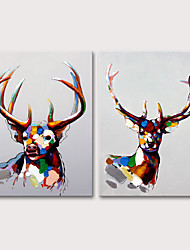 cheap -Oil Painting Hand Painted - Animals Pop Art Modern Stretched Canvas