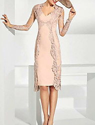 cheap -Two Piece Plunging Neck Knee Length Lace Long Sleeve Wrap Included Mother of the Bride Dress with Lace 2020
