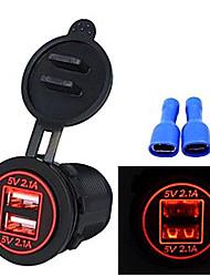 Недорогие -высокое качество водонепроницаемый двойной usb апертура 4.2a 12v-24v автомобильное зарядное устройство со световым индикатором
