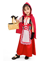 cheap -Little Red Riding Hood Cosplay Costume Masquerade Kid's Girls' Cosplay Halloween Halloween Festival / Holiday Cotton Polyster Drak Red Carnival Costumes
