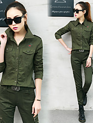 cheap -Women's Hiking Shirt / Button Down Shirts Long Sleeve Outdoor Lightweight Breathable Quick Dry Wear Resistance Shirt Autumn / Fall Spring Cotton Army Green Camping / Hiking / Caving Traveling Back