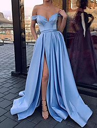cheap -A-Line Off Shoulder Sweep / Brush Train Satin Elegant Formal Evening Dress with Split Front / Pleats 2020